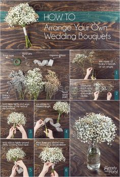 How to arrange your own wedding bouquets! | SmartyHadAParty.com #weddings #wedding #marriage #weddingdress #weddinggown #ballgowns #ladies #woman #women #beautifuldress #newlyweds #proposal #shopping #engagement