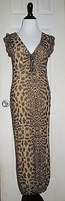 Guess Jeans Dress Med Maxi Leopard Print Design Body Con Capped Sleeves Ruffle