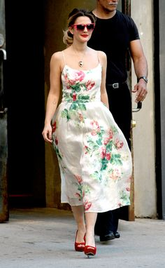 Drew Barrymore wearing floral print dress leaving photo shoot in NYC.  2012