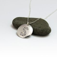 Charm Necklace, Initial Disc Pendant in Sterling Silver with White Swarovski crystal, Custom Designed, personalized necklace.