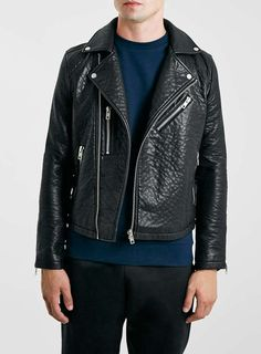 Topman Black Leather Look Biker Jacket £85 #whattomwore