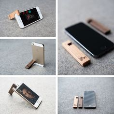 Wooden iPhone stand from FineGrain