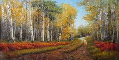 Artist: Wen Shi Hong, Chinese (1960 - ) Title: Forest Path with Red Flowers Year: 2006 Medium: Oil on Canvas Size: 40 x 74 in. (101.6 x 187.96 cm)