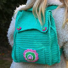 Crochet Pattern Childrens' Backpack – Looking for a trendy backpack for your child? This childrens' backpack is made of Katia Capri, looks amazing and is nice and solid! On top of that it has enough space for your kid's lunch box or sports clothing. Every child will love this, right?