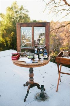 cigar and beer bar for guests #weddingreception #weddingideas #weddingchicks http://www.weddingchicks.com/2014/03/28/organic-rooftop-sunset-wedding/