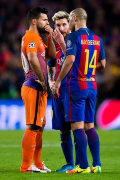 Sergio Aguero (L) of Manchester City FC speaks with Lionel Messi (C) and Javier Mascherano (R) of FC Barcelona during the UEFA Champions League group C match between FC Barcelona and Manchester City FC at Camp Nou on October 19, 2016 in Barcelona, Catalonia.