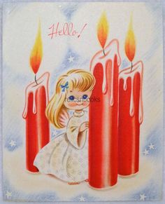 #207 40s Angel Girl by the Red Candles, Vintage Christmas Card-Greeting