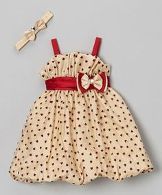 Love this Angels Couture Gold & Burgundy Heart Dress & Headband - Infant, Toddler & Girls by Angels Couture on #zulily! #zulilyfinds