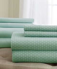 This Sage Printed & Solid Sheet Set is perfect! #zulilyfinds