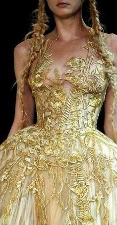 Gold brocade ball gown - Alexander McQueen