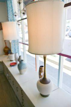 Pair of Danish Swan Neck Mid Century Lamps with Original Shades
