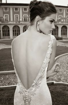 Exquisite Berta Bridal lace and pearls wedding gown