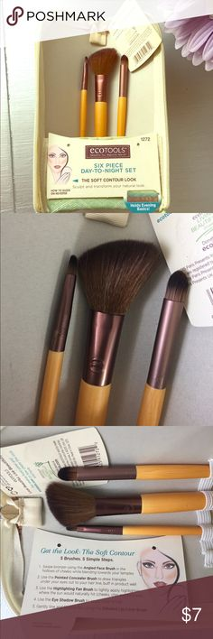 NWT 4 piece ecotools makeup brush set + bag Brand NWT. I just wanted the fan brush so I literally just opened up the package, took the fan & eyeshadow brush and then zipped it up. Ecotools brushes, this is a 4 piece set, 3 brushes and the makeup bag, plus the tags that tell you how to use the brushes. You are getting: 1 angled face brush great for contouring. 1 pointed concealer brush. 1 detailed lip/liner brush for lips or eyes. Plus the green & teal chevron and cork travel zipper bag. Bag…