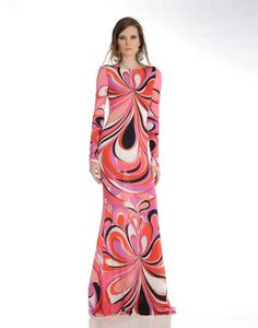 Classic Pucci maxi dress in pinks and reds