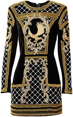 Balmain x H&M Embroidered Mini Dress in black, gold and white