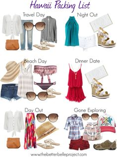 Hawaii Packing List-- 2 dreams required: 1-will actually go to Hawaii and 2-will fit into these clothes