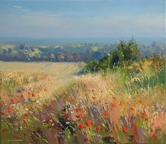 Poppies and Barley, Thornham Coast,Norfolk  Image size 40cm x 35cm Outer frame dimensions 57cm 52cm  Buy this painting with Own Artwith10 interest-free equal monthly instalments of £129.50 – representative 0% APR  Contact the gallery for more information 01629 735580 info@gallerytop.co.uk