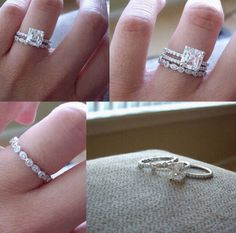 Love the simple stacked wedding bands