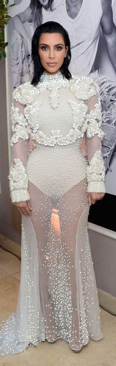 Who made Kim Kardashian's white gown?