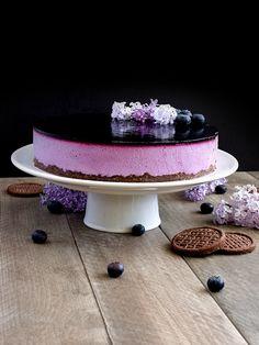 Borůvkové zrcadlo - nepečený tvarohový dort