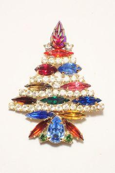 Park Lane Multi Color Rhinestone Christmas Tree Brooch - Hard To Find #ParkLane