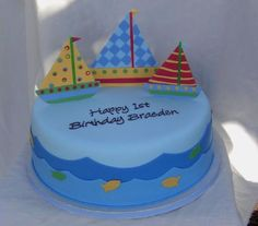 Sailboats First Bd  on Cake Central