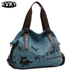 KVKY Fashion Women Canvas Bag Original Woman Shoulder Bag For Woman Handbag Travel Casual Crossbody Bag Bolsa Feminina Sac Blue Shoulder Bags, Shoulder Handbags, Purple Bags, Blue Bags, Crossbody Shoulder Bag, Leather Shoulder Bag, Crossbody Bag, Big Tote Bags, Women's Bags