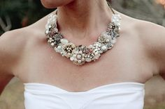 Couture Bridal Bib Necklace Ivory with Vintage by BrassBoheme, $95.00@Joyce McK