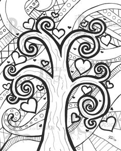 INSTANT DOWNLOAD Coloring Page Heart Tree Print by RootsDesign