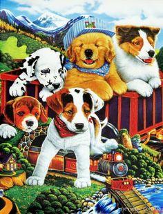 "Trademark Art ""Choo Choo Puppies"" by Jenny Newland Graphic Art on Wrapped Canvas Size: Artist Canvas, Canvas Art, Canvas Prints, Canvas Size, Gatos Cats, Corgi Dog, Dog Art, Retro, Illustration"