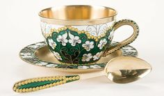 RUSSIAN SOVIET PERIOD SILVER-GILT AND CLOISONNE ENAMEL MATCHING TEA CUP, SAUCER AND SPOON
