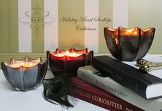 Holiday Pearl Collection is here! Enjoy the scents of BURNT SIENNA, PLATINUM ABSOULTE, RUBY NOIR & NIGHTSHADE all in our signature scallops. #Holiday #Candle #Collection   http://www.dlcompany.com/Signature-Collection_c_17.html