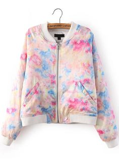 Multicolor Long Sleeve Rainbow Embroidered Coat 35.00