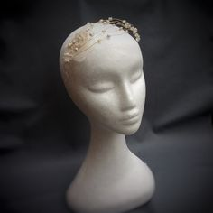 Boho bridal headpiece, headdress,  headband with vintage lace, gold wire and ivory glass beads. Bridal headwear, boho wedding headpiece vintage, bridal hair accessories
