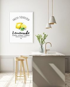Stay on trend and under budget with this digital printable lemonade stand sign! Perfect for adding a pop of color to any kitchen or breakfast nook! Kitchen Nook, Kitchen Decor, Lemonade Stand Sign, Minimal Kitchen, Diy Wall Art, Kitchen Flooring, Porch Decorating, Modern Interior Design, Home Organization