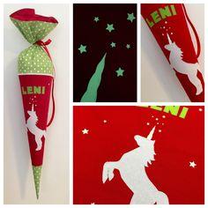 Schultüte aus Stoff, Einhorn, nachtleuchtendes Horn, Rot Weiß Grünl, Kissen, Ergobag GaloppBär