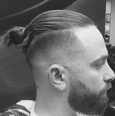 Man bun beard fade