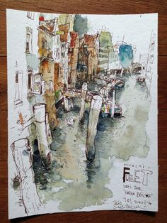 "Image of Nicolai Fleet von der ""Hohen Brücke"" Art And Illustration, Watercolor Illustration, Watercolor Sketch, Watercolor Paintings, Watercolours, Drawing Sketches, Drawings, Tinta China, Urban Sketchers"