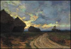 Marc-Aurèle de Foy Suzor-Coté (1869 - 1937 Canadian) - Vieille route de Rambouillet, soir oil on canvas signed and dated 1901