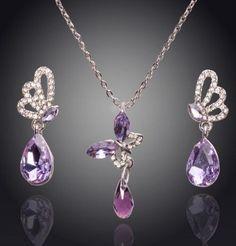 1297e9e027e4 Dije Collar Aretes Mariposa Cristal Swarov Elements Boda ... Mariposa De  Cristal