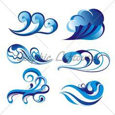 Set Of Wave Symbol On Isolated White Background