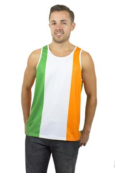 Show your support for Ireland with this comfortable Men's Irish Tank Top! 100% Polyester. Designed exclusively by Rave Nations. All over print. Artwork on front and back. 10% of proceeds will be donated to a selected charity of your choice (charity selection made during checkout).
