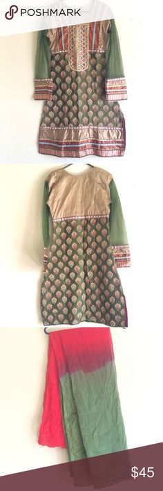 Indian clothing shalwar kamiz salwar kameez Great condition. Full sleeve, colors are green and red combined.  Comes with dupatta Can't find the salwar/pajama, if I do then will add it. Bust size: 14 and length 35 inches.   Feel free to ask any questions.  Ships within 2-3 days  Tags: Anarkali  Indian dress  Saree  Pakistani dress  Shalwar khamiz indian clothing Dresses