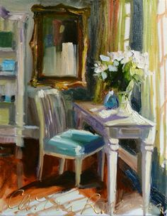CHAMBRE BLEUE INTERIOR ART PRINT OF ORIGINAL PAINTING BY CECILIA ROSSLEE This listing is for: An exactly 8x10 print (on 8.5 x 11 paper) ,