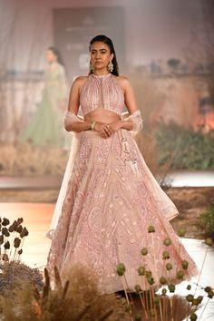Peach Color Designer Wedding Lehenga Online from India Couture Week For more details please contact us through WhatsApp Wedding Lehenga Online, Wedding Lehnga, Indian Wedding Gowns, Indian Dresses, Indian Outfits, Wedding Dress, Pink Lehenga, Lengha Choli, Lehenga Designs Simple