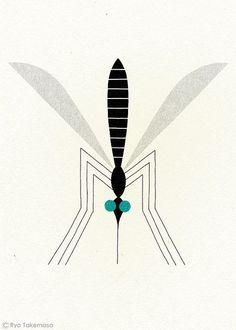 Mosquito - illustration by Ryo Takemasa. Gravure Illustration, Illustration Art, Animal Illustrations, Ryo Takemasa, Silkscreen, Impression Textile, Mosquitos, Art Lessons For Kids, Desenho Tattoo