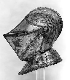 Close Helmet Date: ca. Geography: Augsburg Culture: German, Augsburg Medium: Steel, etched and gilt Di Helmet Armor, Knights Helmet, Suit Of Armor, Arm Armor, Medieval Helmets, Medieval Armor, Knight In Shining Armor, Knight Armor, Costume Armour