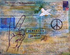 peace wall art with inspirational thoreau by ellenhowardhandmade, $38.00