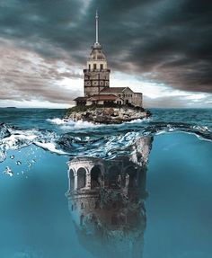 Galata Tower and Maiden's Tower 💞 #galata #galatatower #maidenstower #love #sea #landscape #cloud #clouds