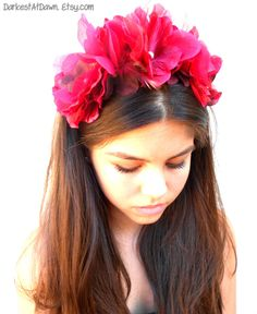 Blood Rose Flower and Feather Crown/ Flower by DarkestAtDawn, $22.00